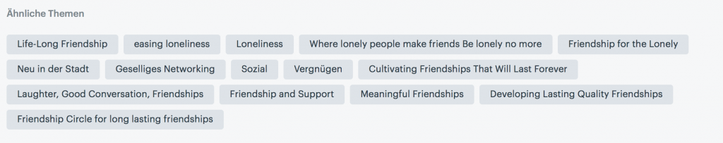 Meetup Group Keywords