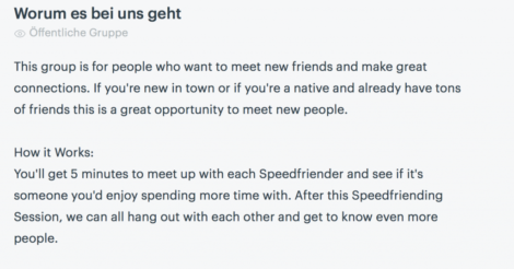 Speedfriending Meetup Group Description